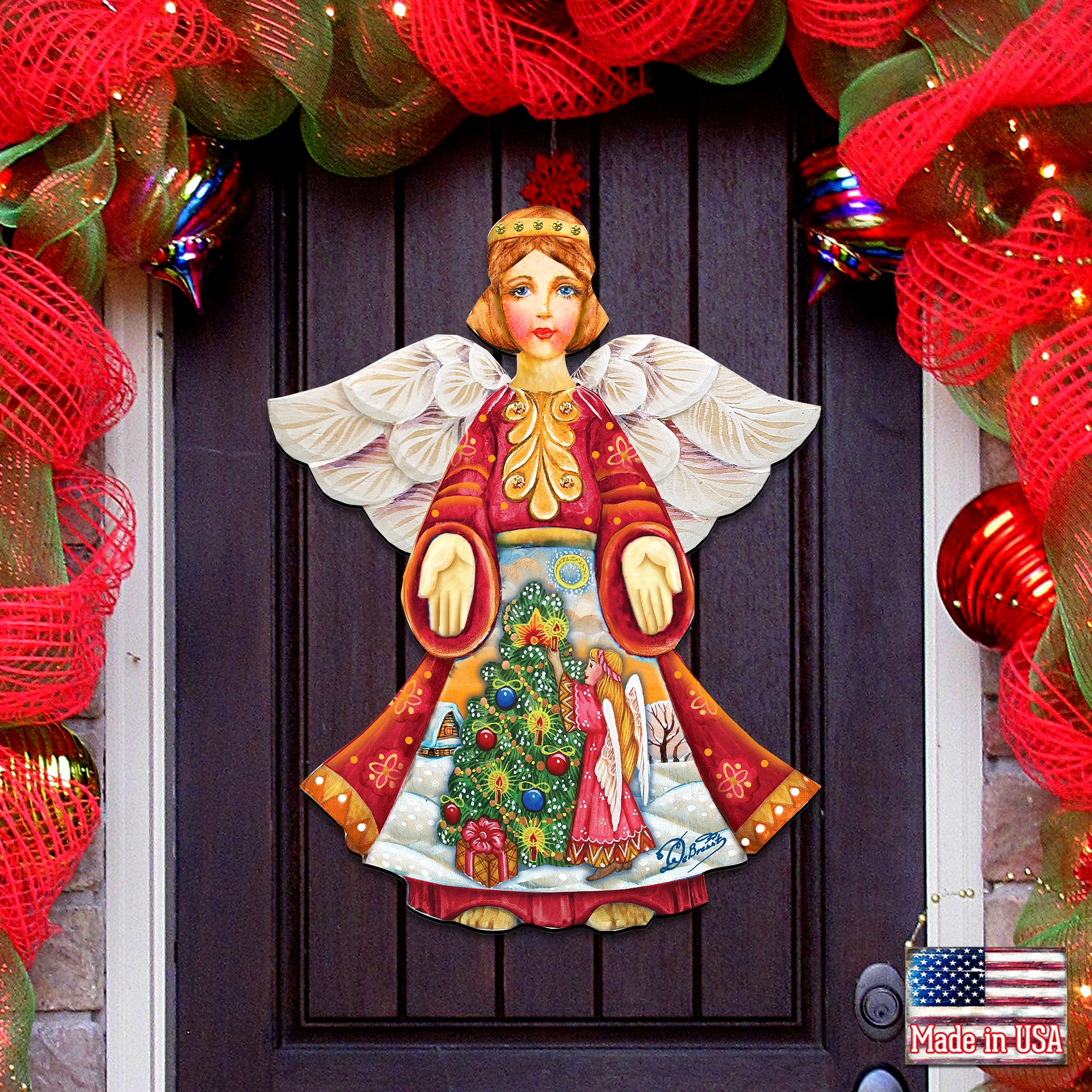 Nativity Wreath   Outdoor Christmas Decorations   SALE Christmas Tree Angel  Wooden Decorative Holiday Door Hanger / Wall decor 20H