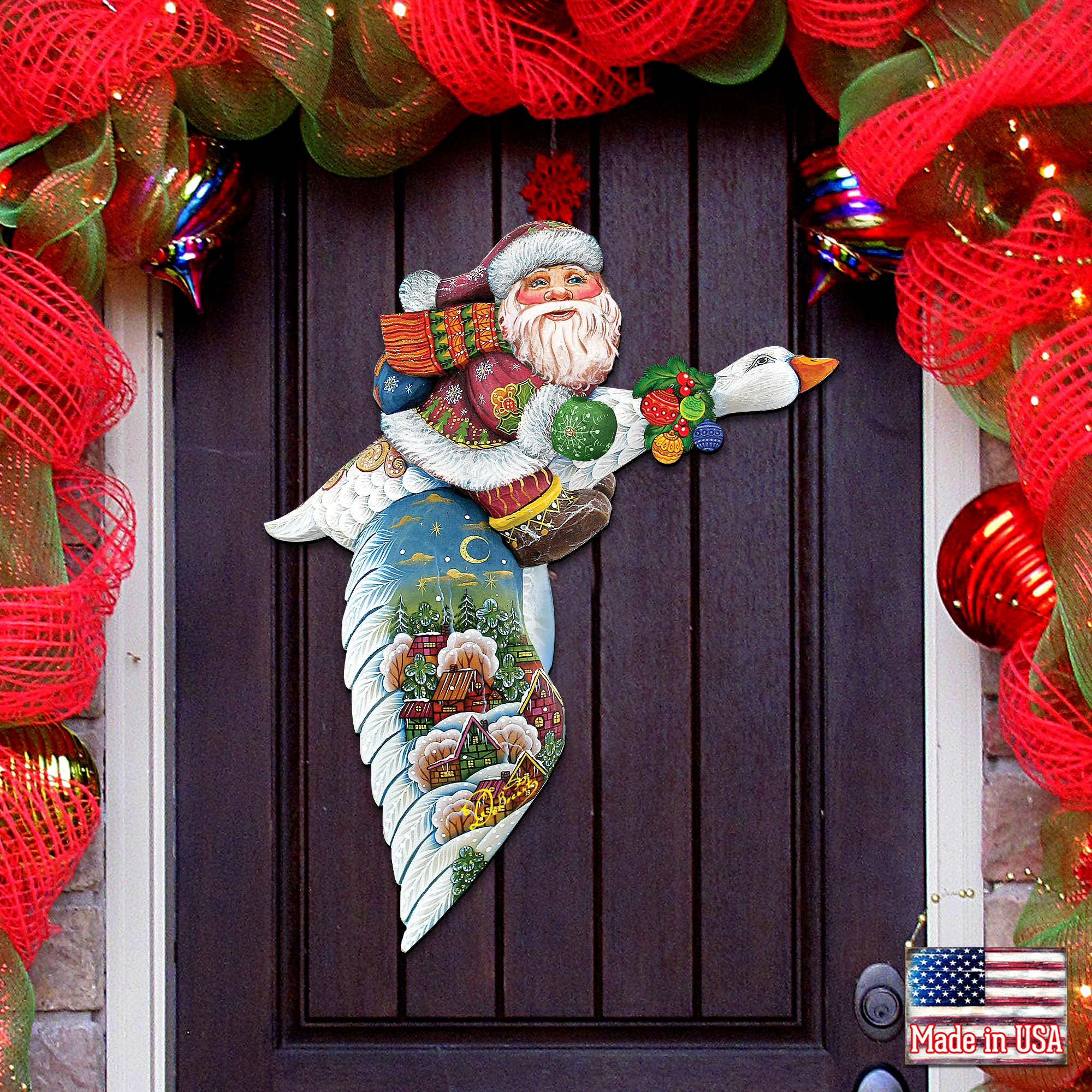 Holiday Decoration SALE Outdoor Christmas Decorations Christmas Front Door Decor Goose Traveling Santa Wooden Door Hanger H