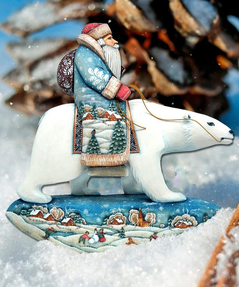 Outdoor Christmas Decoration Santa On Polar Bear Lawn Etsy