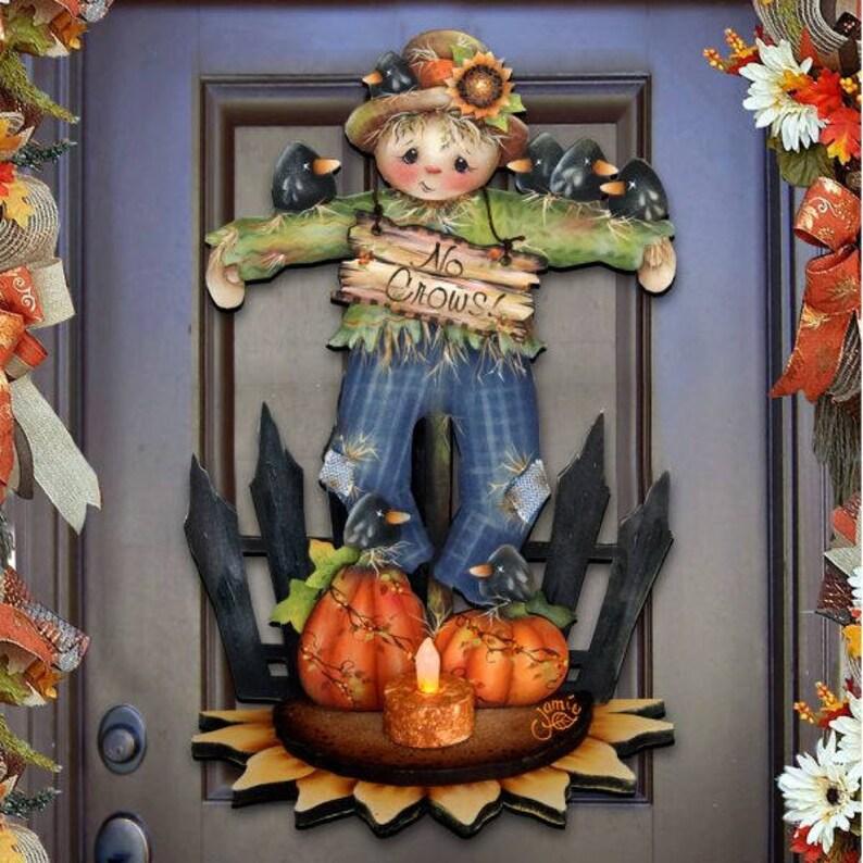 Fall Decor Outdoor Halloween No Crows Scarecrow Wooden Door Etsy