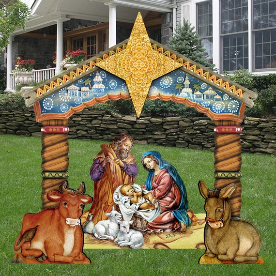 Nativity Outdoor Christmas Decorations.Holiday Decor Outdoor Christmas Decorations Nativity Nativity Set Wooden Free Standing Christmas Outdoor Decoration Fs8114030