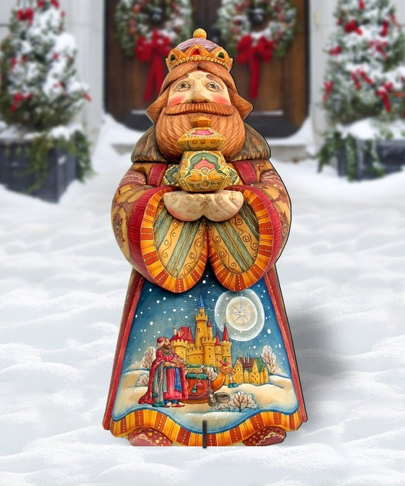 Christmas Nativity Set Outdoor.Outdoor Nativity Set Three Wise Men King Melchior Wooden Free Standing Outdoor Decoration By G Debrekht 8152652f