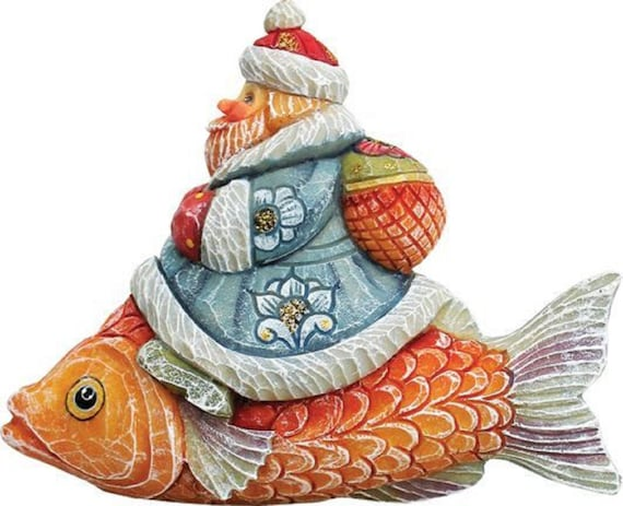 Christmas Ornaments Santa On Fish Figurine Ornament Derevo Etsy