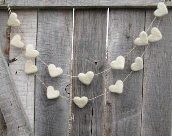 White Heart Banner Felt Heart Garland Valentine's Felt Hearts White Wedding Rustic decor Felted Homemade decor Wool Decor Spring accent