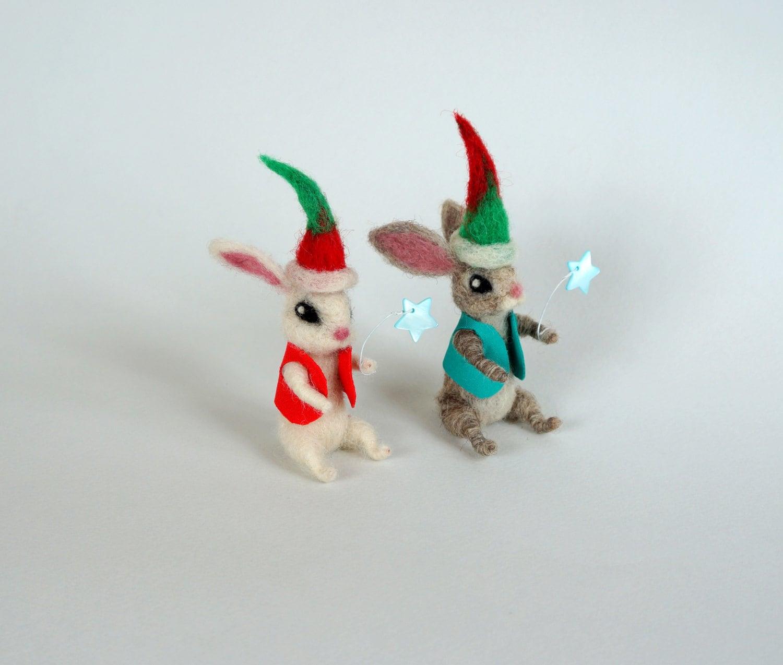 Tiny bunny blue star Christmas figurine Cute hare Holiday   Etsy