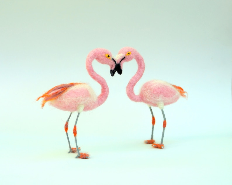 Flamingo Wedding Cake Topper Beach Love bird Felt cake topper Beach wedding Woolen wedding Tropical Wedding Bird Flamingos couple in love