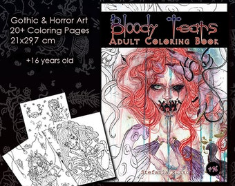 Gothic Coloring Book Etsy