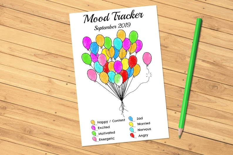 Monthly Mood Tracker Balloons Editable Printable PDF for image 0