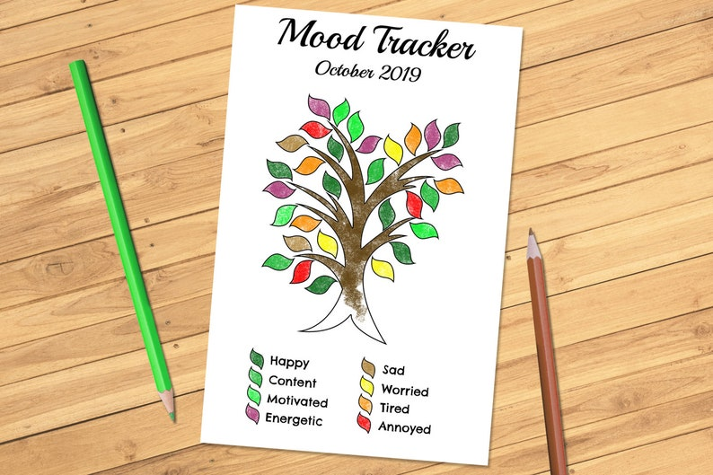 Monthly Mood Tracker Tree Nature Editable Printable PDF for Bullet Journal  Bujo