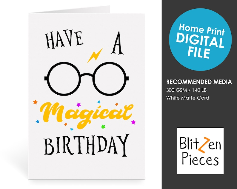 image about Harry Potter Birthday Card Printable titled Consist of A Magical Birthday - Greeting Card Printable - Wizard - Harry Potter Motivated Magic