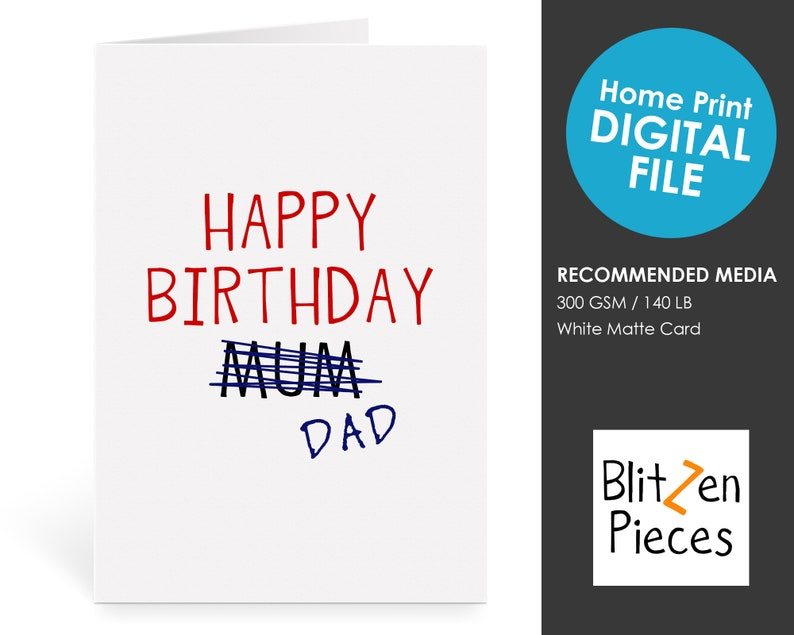 graphic regarding Happy Birthday Dad Cards Printable called Satisfied Birthday Father Amusing Card - Cheapskate - Content Birthday Father (Mum Crossed Out) - Mum or dad Greeting Card Printable