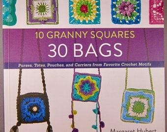 Ten 10 Granny Squares 30 Bags (SC 2016) Crochet Pattern Book - Purses, Bags, Pouches & Carriers