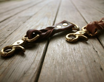 Handmade Leather Woven Keychain Clip