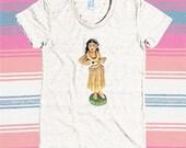 Watercolor Dashboard Hula Girl Triblend T-shirt