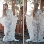 White Lace Kaftan Dress, Can be used as a Beach Wedding Dress, Bridal Lingerie, Bridal Shower or boho Beach cover up