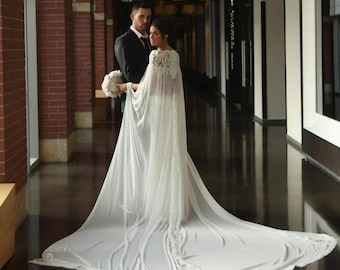 62111cfbd333f Elegant Lace Bridal Cape, Wedding accessories, Gown Separates, Dress  Alternative, Detachable Train, Long Chiffon Cape