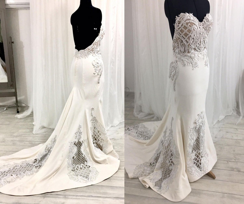 Low Back Wedding Dress Lace Wedding Dress Strapless Wedding Dress Corset Wedding Dress Mermaid Wedding Dress
