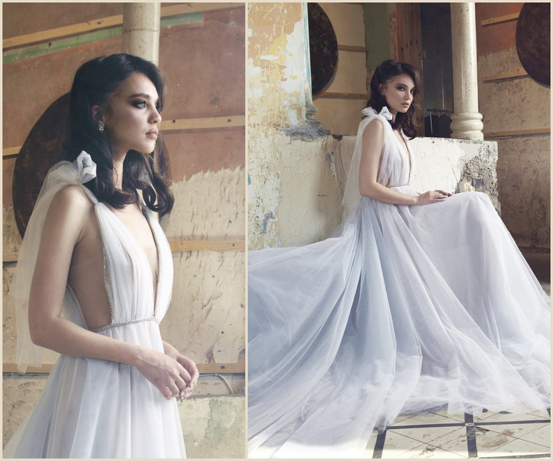 9df48c4f2aa Long Tulle Wedding Dress Fairy and flowy Gown Prom Dress