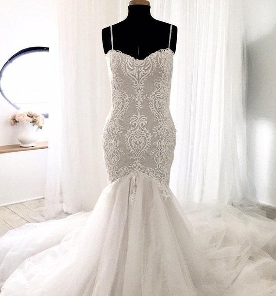 Lace Mermaid Wedding Dress Backless Wedding Dress Bridal | Etsy