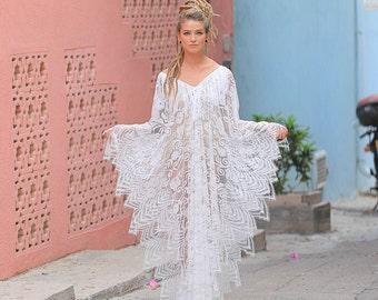 Kimono Lace Dress, Beach Wedding Dress, Wedding Lingerie, honeymoon dress, bridal lingerie, maxi dress, Beach cover up, beach kaftan, caftan
