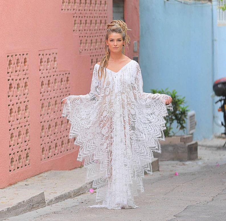 cec8b546cda9c Bohemian Lace Kaftan Dress Beach Wedding Bridal Lingerie