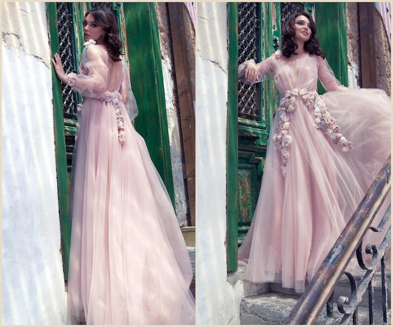 f1eef9acee9 Fairy Wedding Dress Tulle Wedding Dress with flowers Wedding