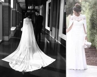 Bridal Cape, Lace Wedding Cape, Bridal Accessories, bridal separates, wedding dress alternative, detachable train, chiffon cape