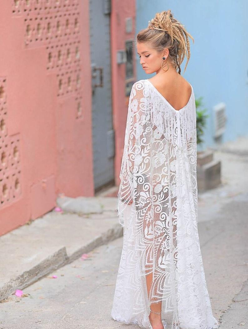 049cd7b5c8 Bohemian Lace Kaftan Dress Beach Wedding Bridal Lingerie | Etsy