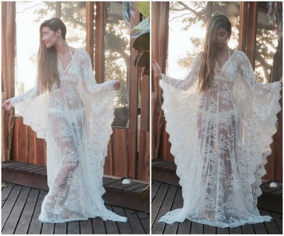White Lace Kaftan Dress Can Be Used As A Beach Wedding Dress Bridal Lingerie Bridal Shower Or Boho Beach Cover Up