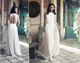Open Back Wedding Dress, Lace Wedding Dress, Boho Wedding Dress, beach Wedding Dress Lace, 2 piece wedding dress, bridal gown, Bridal dress