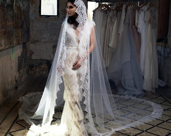 Royal Veil Lace, Long Lace Veil, Custom Veil, cathedral veil with blusher, wedding accessories, wedding veil ivory, comb veil, veil lace
