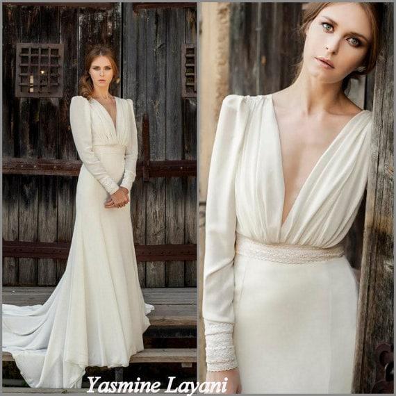 Long Sleeve Wedding Dress Vintage Wedding Dress Bridal Gown | Etsy