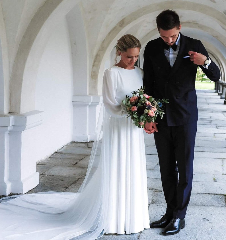Modest Wedding Dress.Modest Wedding Dress Long Sleeve Wedding Dress Bridal Gown Off White Wedding Dress Simple Wedding Dress Vintage Wedding Dress