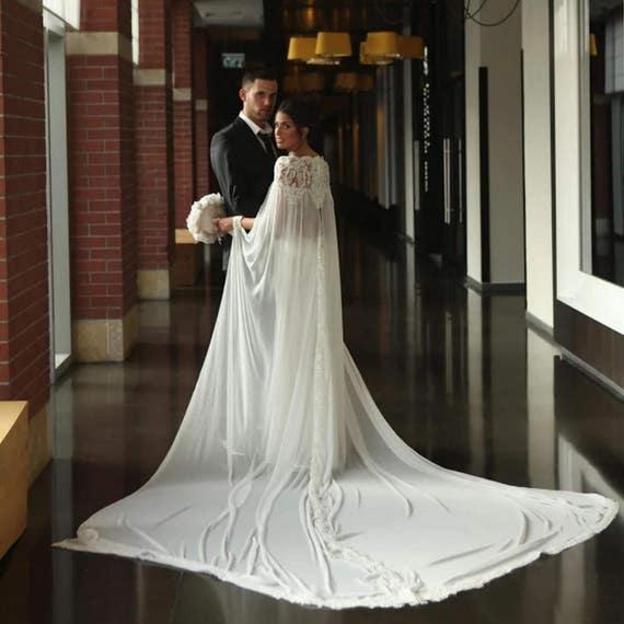 Elegant Lace Bridal Cape Wedding Accessories Gown Etsy
