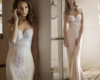 Elegant Wedding Dress, Open Back Bridal Gown, Champagne Wedding Dress, Bridal dress, bridal gown, Wedding Gown, Designer Wedding Dress