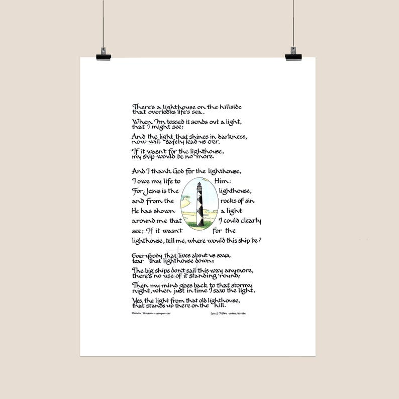 The Lighthouse - Christian Song - Handlettered Calligraphy - Christian Wall  Decor - Printable Art - Digital Download