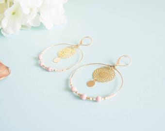 """""""Luna"""" earrings brass & glass beads"""