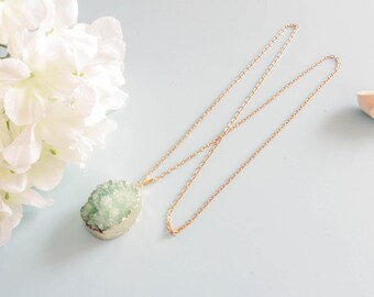 """""""Green amazonite"""" necklace - gold-plated brass"""