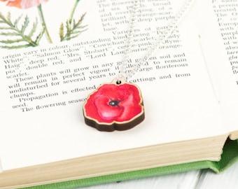 Poppy Pendant Necklace | Flower Necklace
