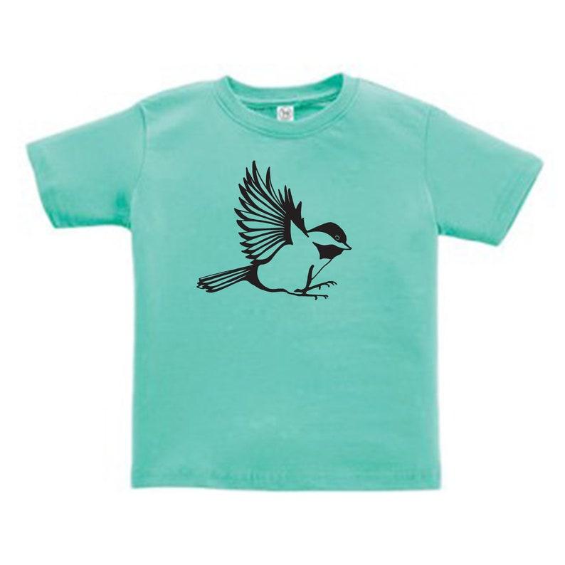 SALE Chickadee Bird Tshirt Chickadee Kids Shirt Chickadee T-shirt Teal Maine Kids Shirt Bird Shirt