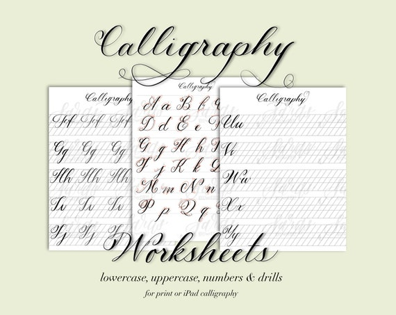 Calligraphy worksheets, Hand lettering worksheets, Brush Lettering Guide,  Procreate drills, Calligraphy Practice, learn calligraphy, ipad