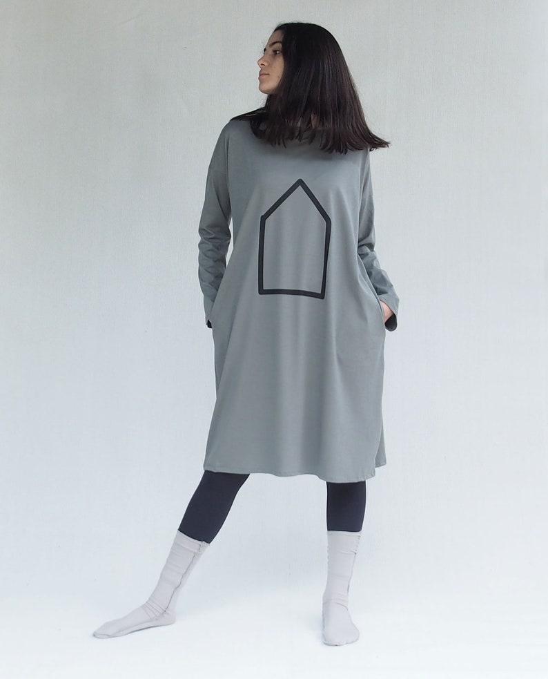 Black Dress With Pockets and Geometric Print Black women/'s clothing T shirt dress Organic Cotton