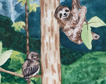 Owl and Sloth Painting Jungle Scene Watercolor Art Print 8x10 Children's Nursery Art