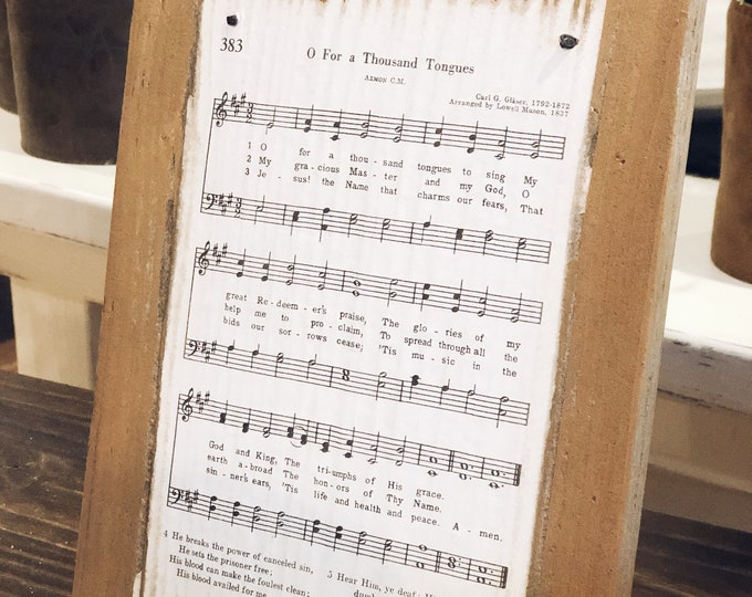 Hymnal song on wood