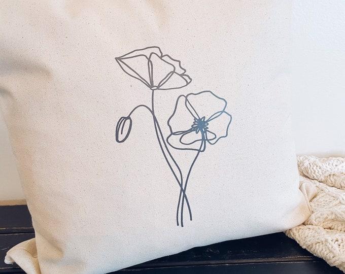 Poppy Flower Pillow Cover 18x18