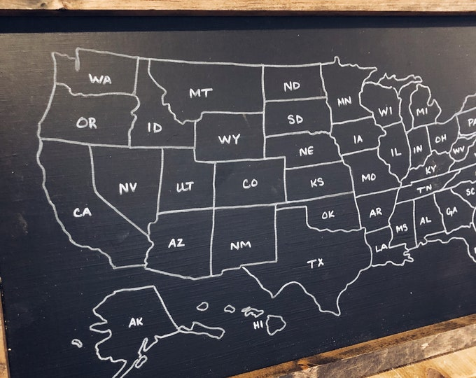 Where you visited states sign/States sign/Chalkboard sign/United States