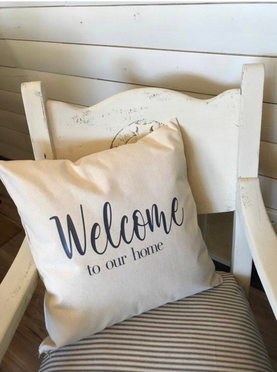 Welcome throw pillow, Pillow cover, Decorative pillow