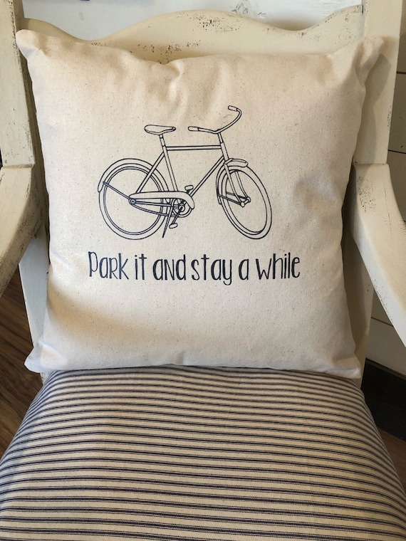 Park it and Stay a while bike throw pillow, Bike pillow, Decorative pillow