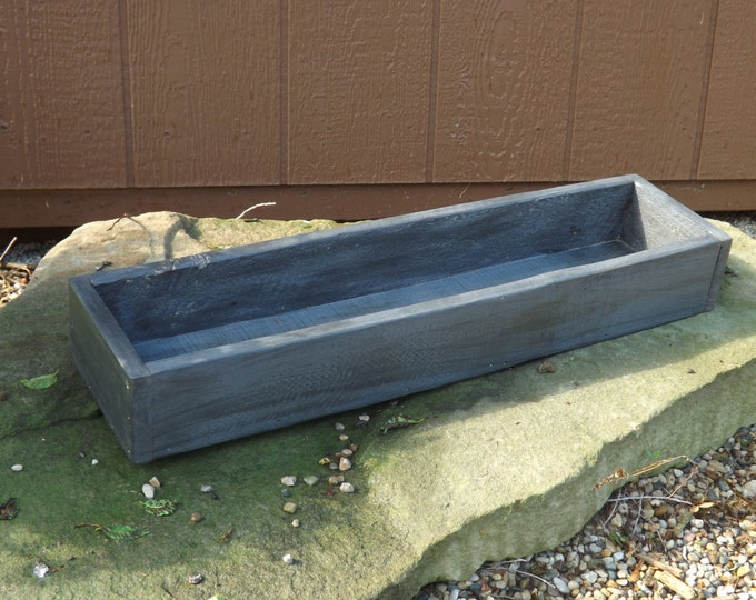 Wood tray/Trough/Graphite colored table centerpiece/planter box/tray/indoor/outdoor/table trough/wedding box