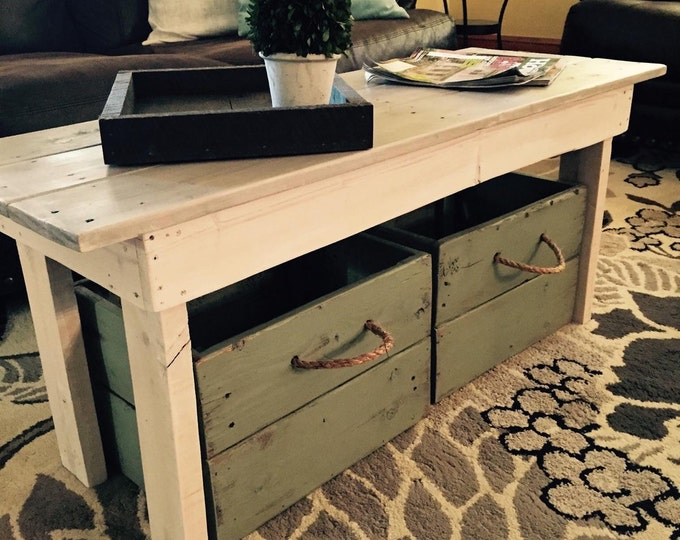 Wood coffee table/Coffee table/Distressed coffee table/Wood table/Entry bench/Mudroom bench/Farmhouse table